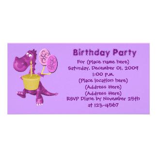 Purple Dragon Cupcake Balloons Birthday Invitation Customised Photo Card