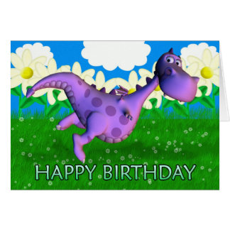 Purple dragon dancing in the Garden Birthday Card