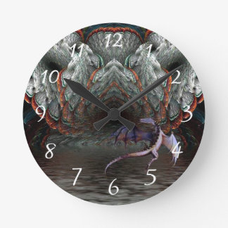 Purple Dragon Flies in front of a illuminated cave Wallclock