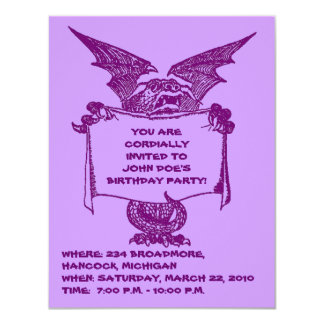 PURPLE DRAGON HOLDING PARTY INVITATION-CUSTOMIZE CARD