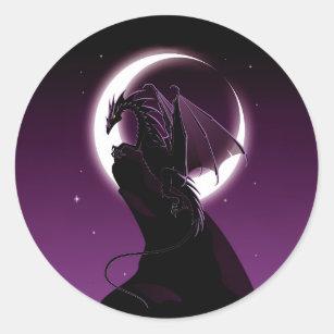 Purple Dragon Round Stickers