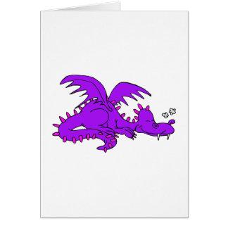 Purple Dragon Sleeping.png Greeting Cards
