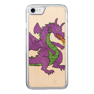 purple dragon throwing flames carved iPhone 8/7 case