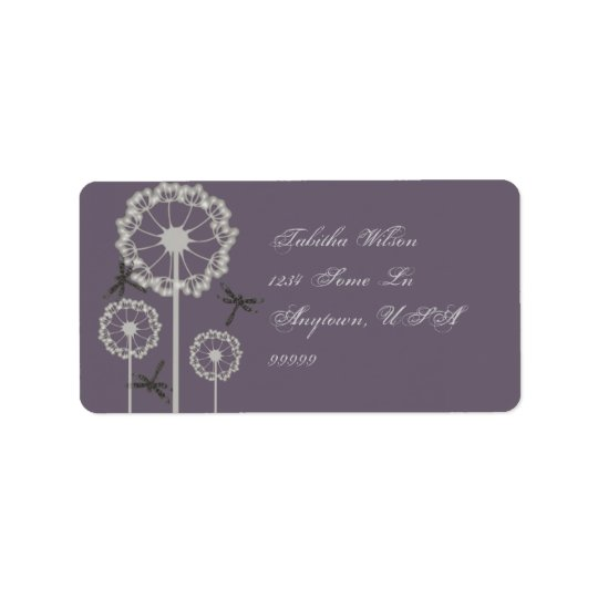 Purple Dragonflies Address Label