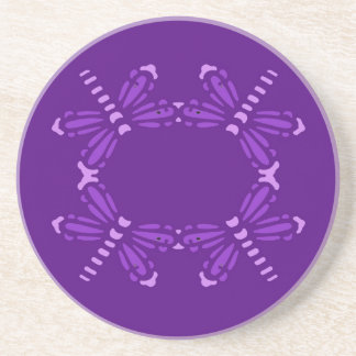 Purple dragonflies on purple, drink coaster
