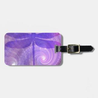 Purple Dragonfly Luggage Tag