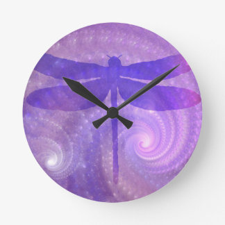 Purple Dragonfly Round Clock