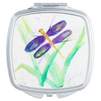Purple Dragonfly Square Shaped Compact Mirror