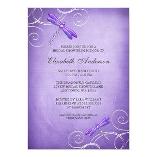 Purple Dragonfly Swirls Bridal Shower 13 Cm X 18 Cm Invitation Card
