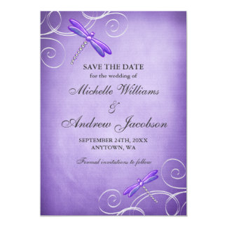 Purple Dragonfly Swirls Wedding Save the Date Card