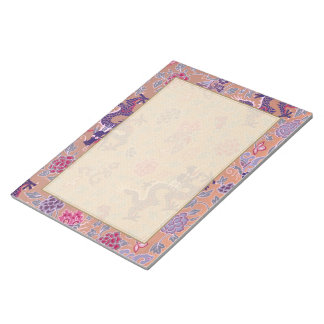Purple Dragons Pink and Purple Flowers Pattern Notepad