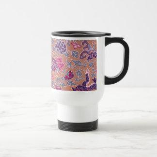 Purple Dragons Pink and Purple Flowers Pattern Stainless Steel Travel Mug