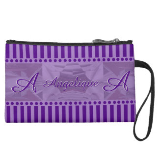 Purple Dreams Combo Design w Monogram Suede Wristlet