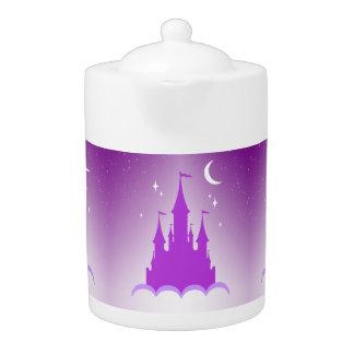 Purple Dreamy Castle In The Clouds Starry Moon Sky