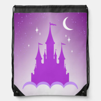 Purple Dreamy Castle In The Clouds Starry Moon Sky Drawstring Bag