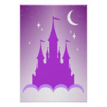 Purple Dreamy Castle In The Clouds Starry Moon Sky Poster