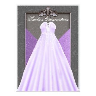 Purple Dress Quinceañera Birthday Invitation