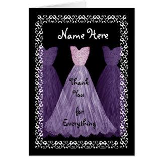 PURPLE Dresses BRIDESMAID Wedding Thank You Greeting Card
