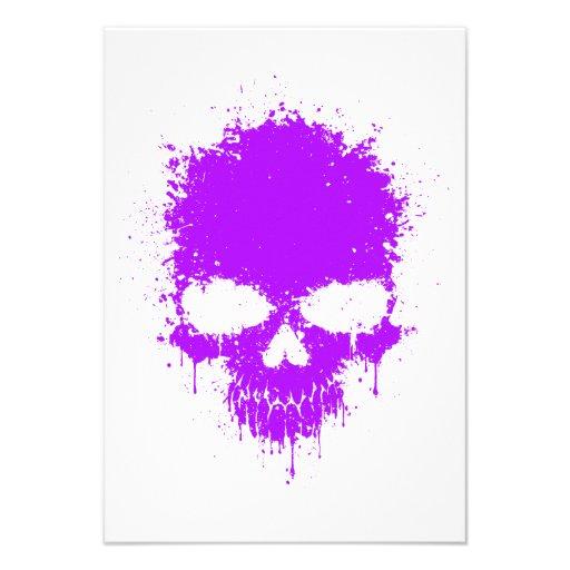 Purple Dripping Splatter Skull Invitation