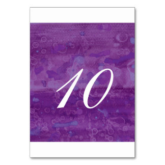 Purple Drizzle Table Number Table Cards