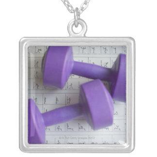 Purple dumbbells personalized necklace