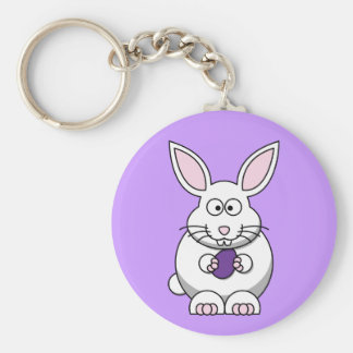Purple Easter Egg Bunny Keychain