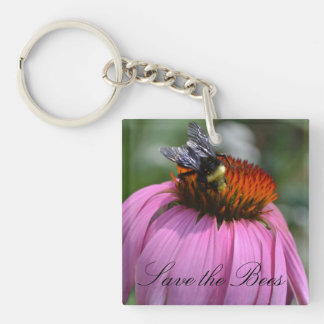"Purple Echinacea ""Save the Bees"" Keychain"