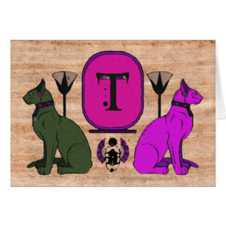 Purple Egyptian Cat Monogram Greeting Card: T Card