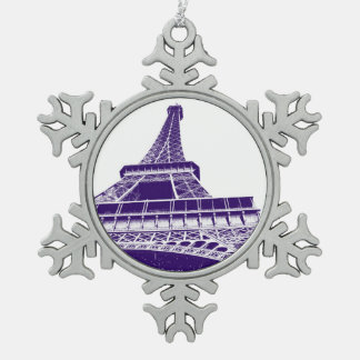 Purple Eiffel Tower Pewter Snowflake Decoration
