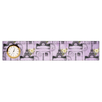 Purple Eiffel Tower Post Card Stamps Desk Nameplates