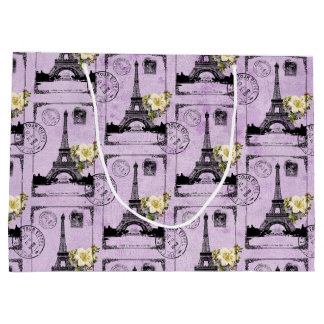 Purple Eiffel Tower Post Card Stamps Large Gift Bag