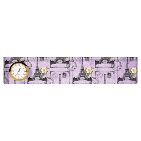 Purple Eiffel Tower Post Card Stamps Name Plate