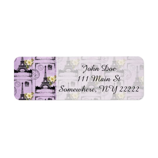 Purple Eiffel Tower Post Card Stamps Return Address Label