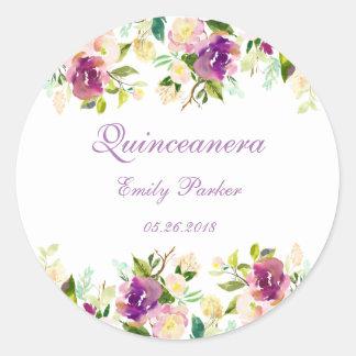 Purple Elegant Floral Quinceanera Sticker