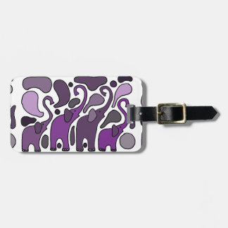 Purple Elephant Art Abstract Luggage Tag