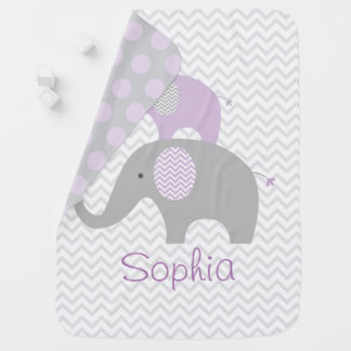 Purple Elephant Baby Blanket