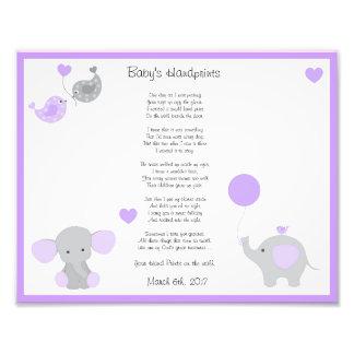 Purple Elephant Baby Girl Handprints Wall Art
