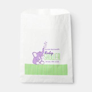 Purple elephant baby shower personalized favor bag