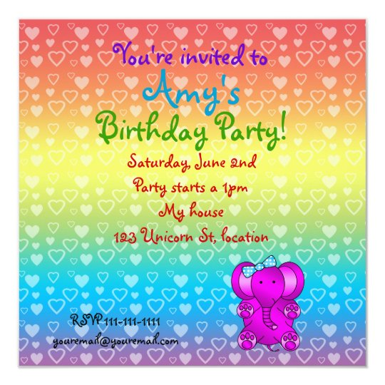 Purple elephant birthday invitations