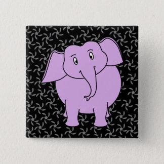 Purple Elephant Cartoon. Blue Floral Background. 15 Cm Square Badge