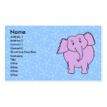 Purple Elephant Cartoon. Blue Floral Background. Business Card Template