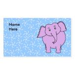 Purple Elephant Cartoon. Blue Floral Background. Business Card