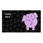 Purple Elephant Cartoon. Blue Floral Background. Business Card Templates