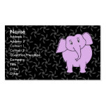 Purple Elephant Cartoon. Blue Floral Background. Business Card Templates