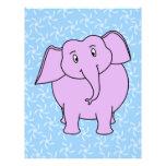 Purple Elephant Cartoon. Blue Floral Background. Custom Flyer