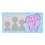 Purple Elephant Cartoon. Blue Floral Background. Photo Greeting Card