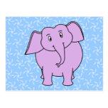 Purple Elephant Cartoon. Blue Floral Background. Post Cards