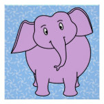 Purple Elephant Cartoon. Blue Floral Background. Posters
