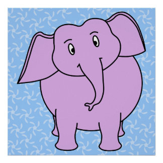 Purple Elephant Cartoon. Blue Floral Background. Poster
