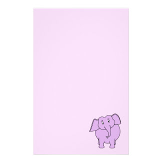 Purple Elephant. Cartoon Stationery
